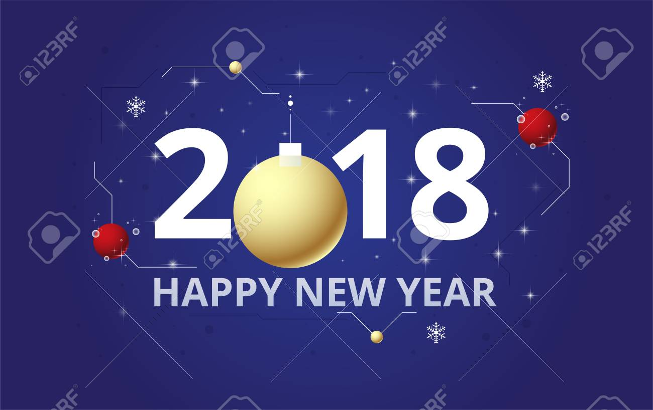 2018 happy new year background celebration firework design simple firework decoration stock vector