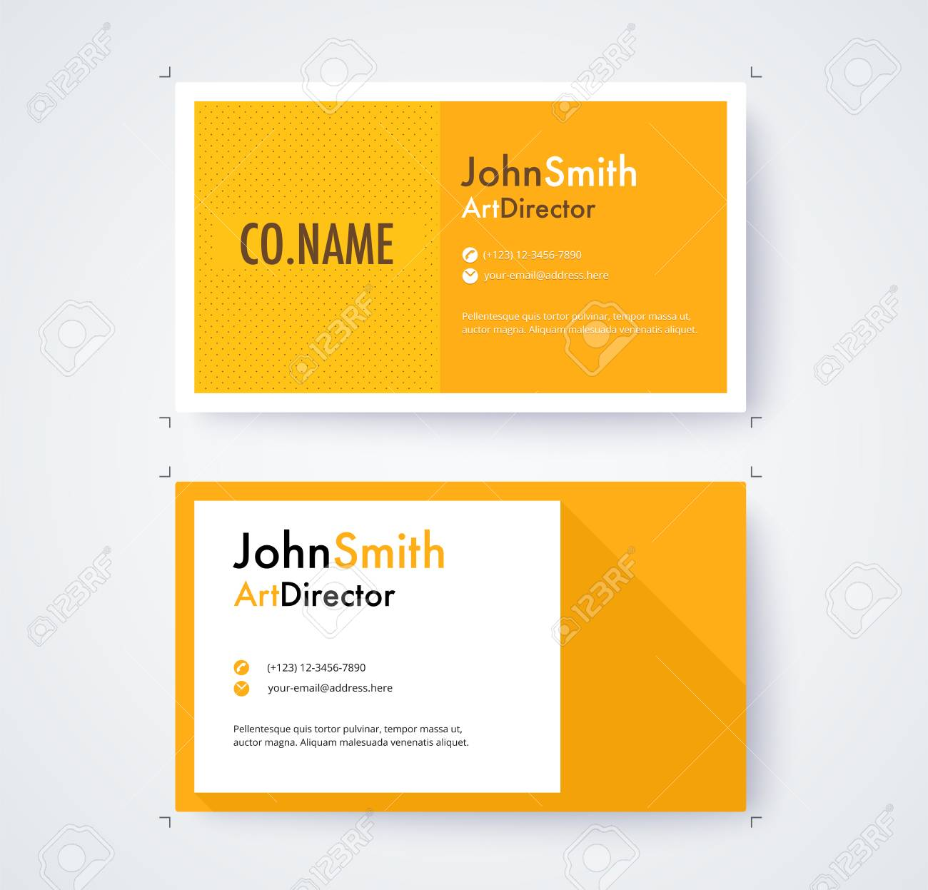 Business Card Template For Commercial Design On White Background