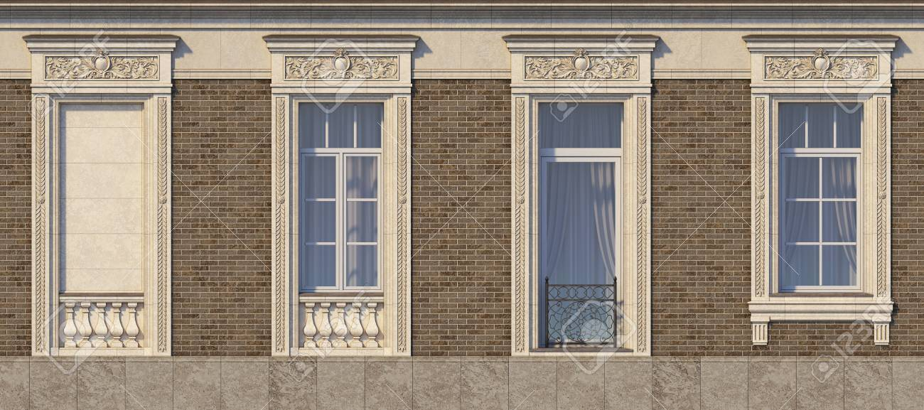 Framing Of Windows In Classic Style On The Brick Wall Of Brown ...