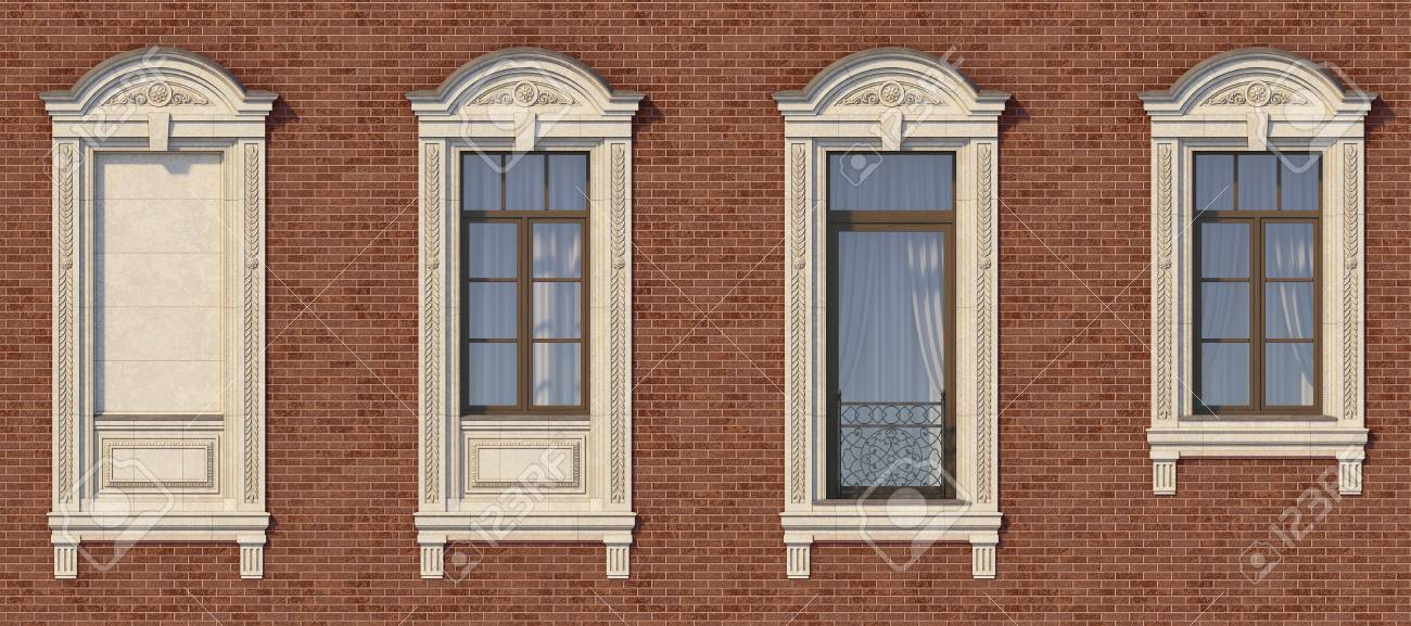 Framing Of Windows In Classic Style On The Brick Wall Of Red.. Stock ...
