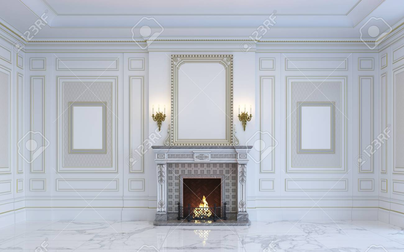Camino Classico In Marmo un interno classico è in toni chiari con pavimento in marmo e camino.  rendering 3d.