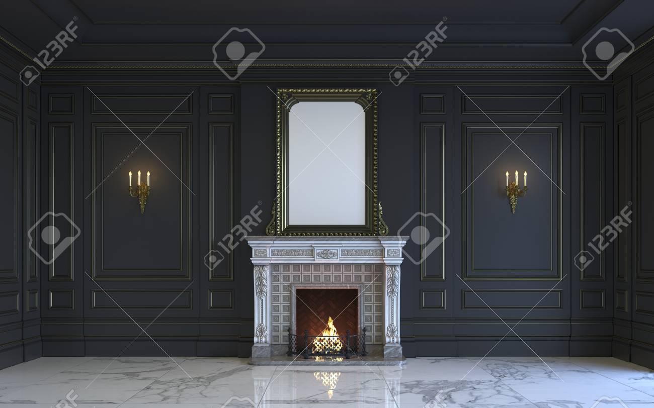 Camino Classico In Marmo un interno classico è in toni scuri con pavimento in marmo e camino.  rendering 3d.