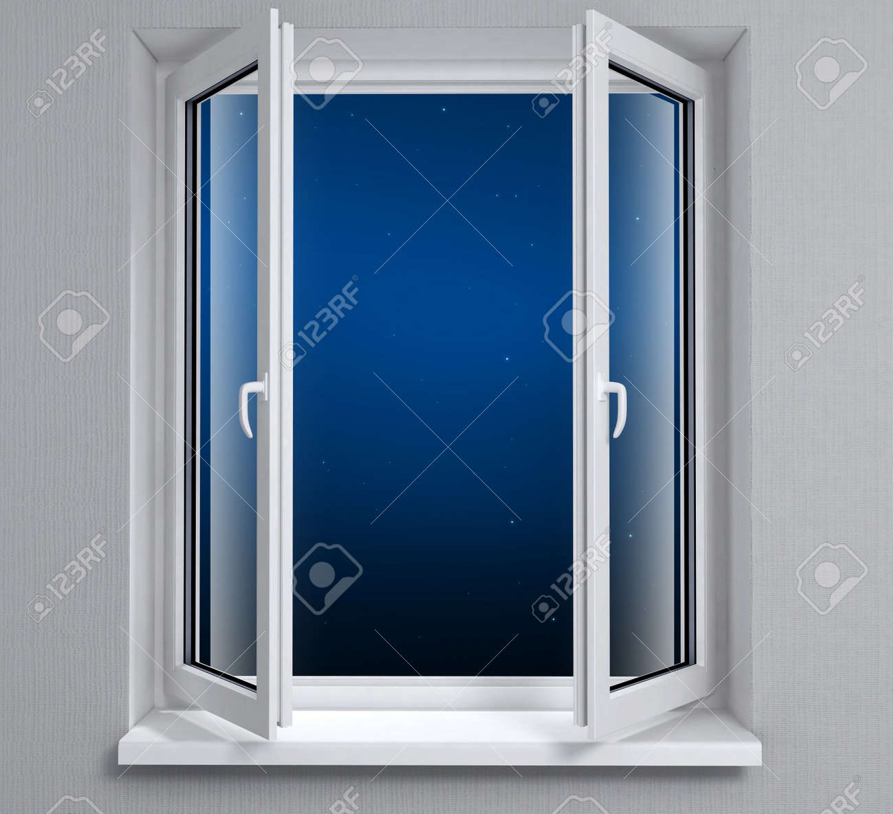 Opened plastic window with night sky and stars Stock Photo - 1352178