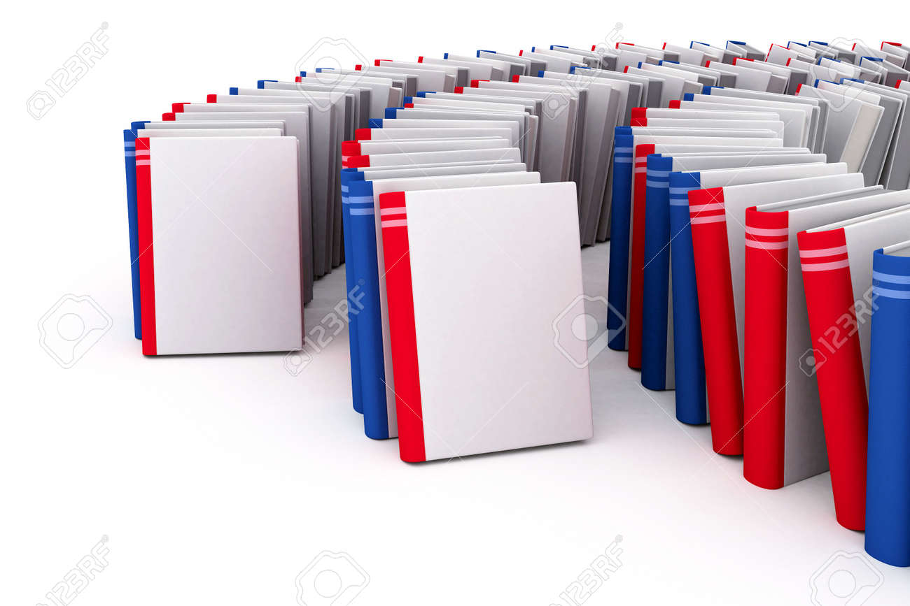 Red and blue books with blank covers Stock Photo - 1356607