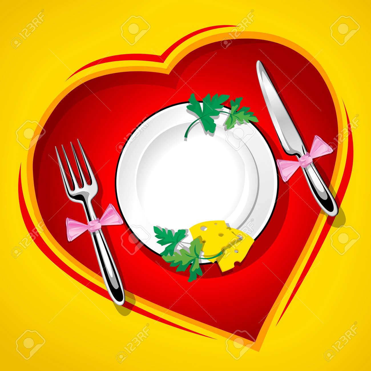Served table on the heart love vector illustration rasterised Stock Photo - 1631476
