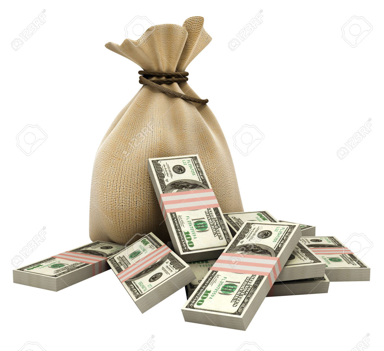 sack with money dollars currency isolated Stock Photo - 1655854
