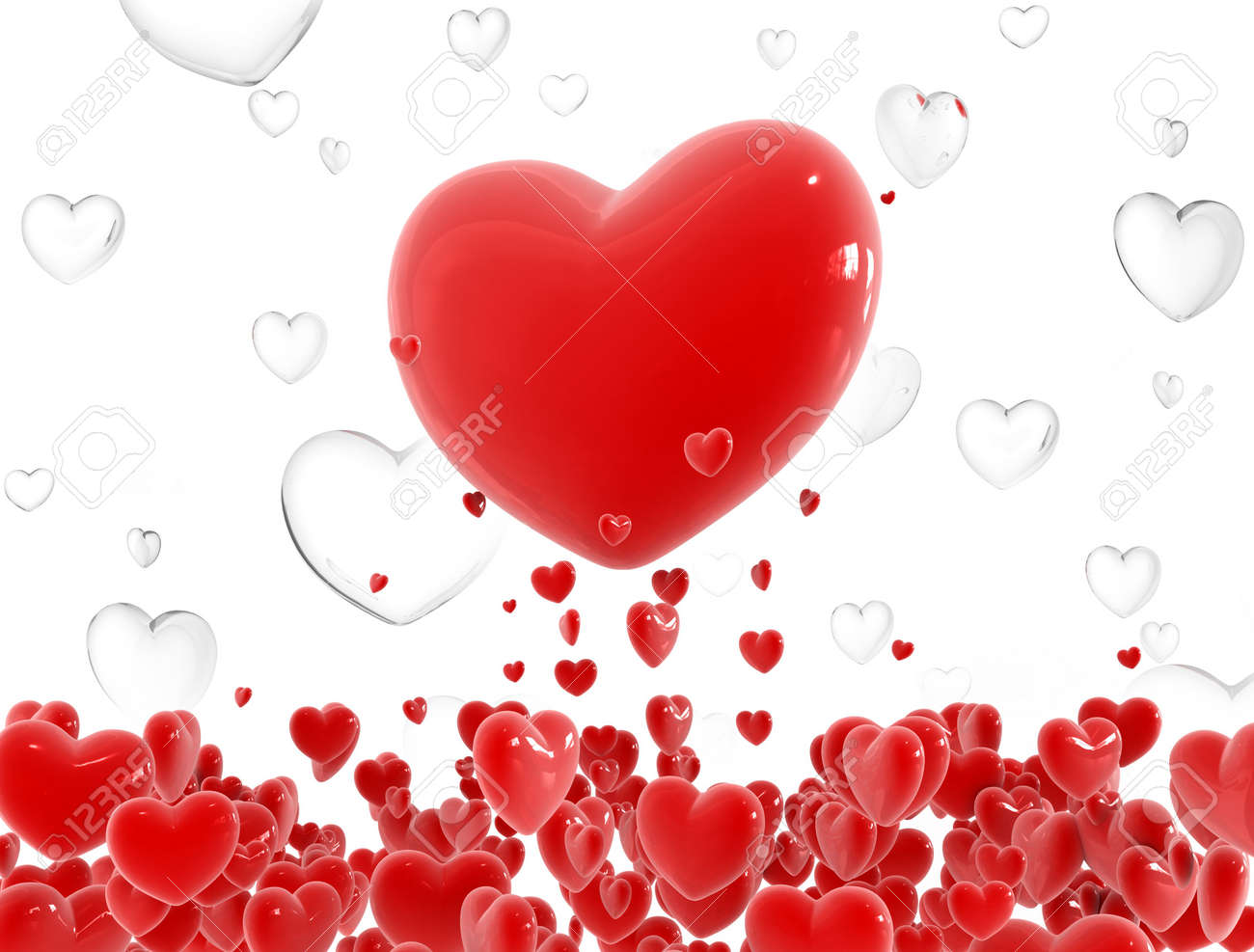 Red heart flying out from little hearts cloud Stock Photo - 1807175