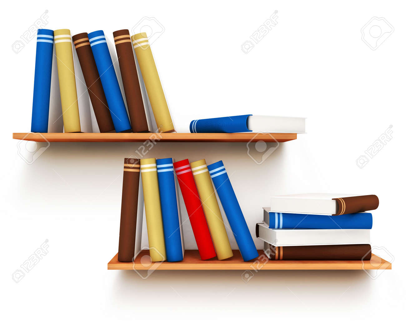 Realistic 3d illustration of modern wooden bookshelf against ston - 3d Bookshelf Color Books With Blank Covers Standing On The Wall Bookshelf Isolated 3d Illustration