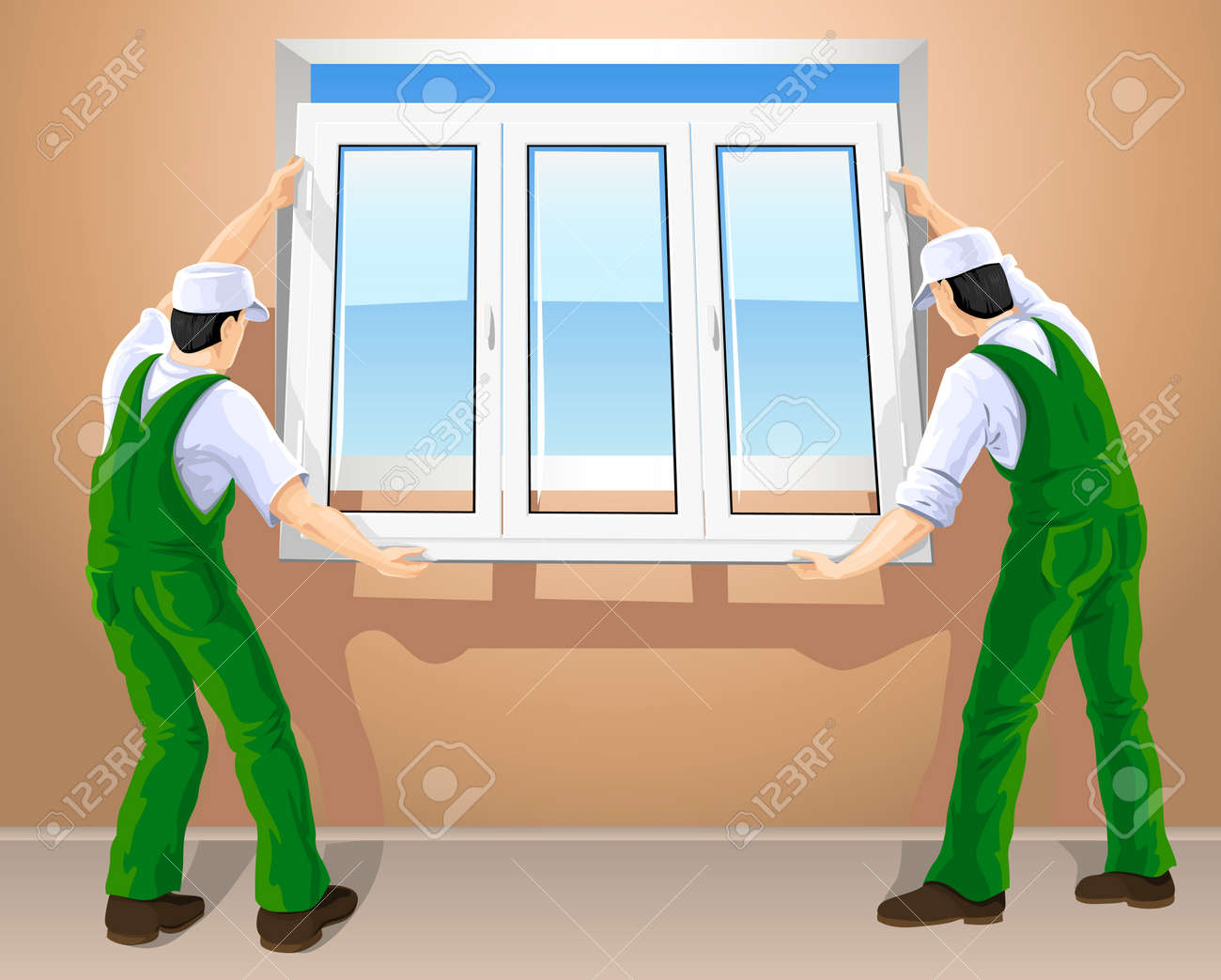 Cartoon kitchen with cabinets and window vector art illustration - Repair Room Wall Window Two Workers Editing New Plastic Window Vector Illustration
