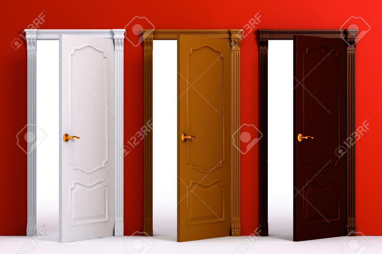 Foto de archivo , Árbol de madera color clásico puertas en el muro rojo casa para decoración de interiores 3d ejemplo aislado más de fondo blanco