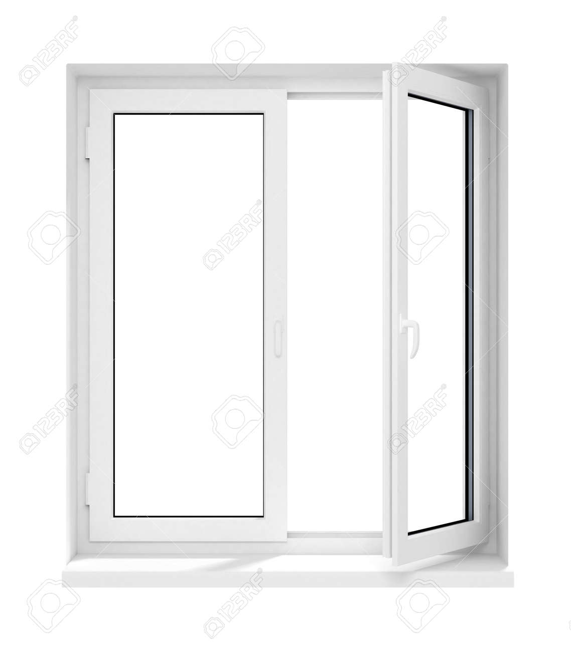 White window frame - Illustration New Opened Plastic Glass Window Frame Isolated On The White Background 3d Model Illustration