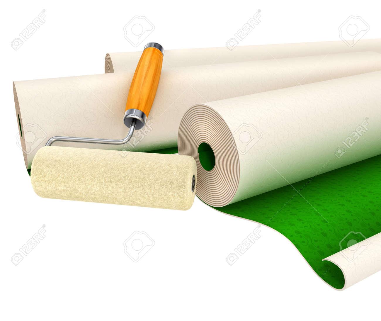 Tapeten Und Roller Tool Fur Haus Reparieren Isoliert 3d Illustration
