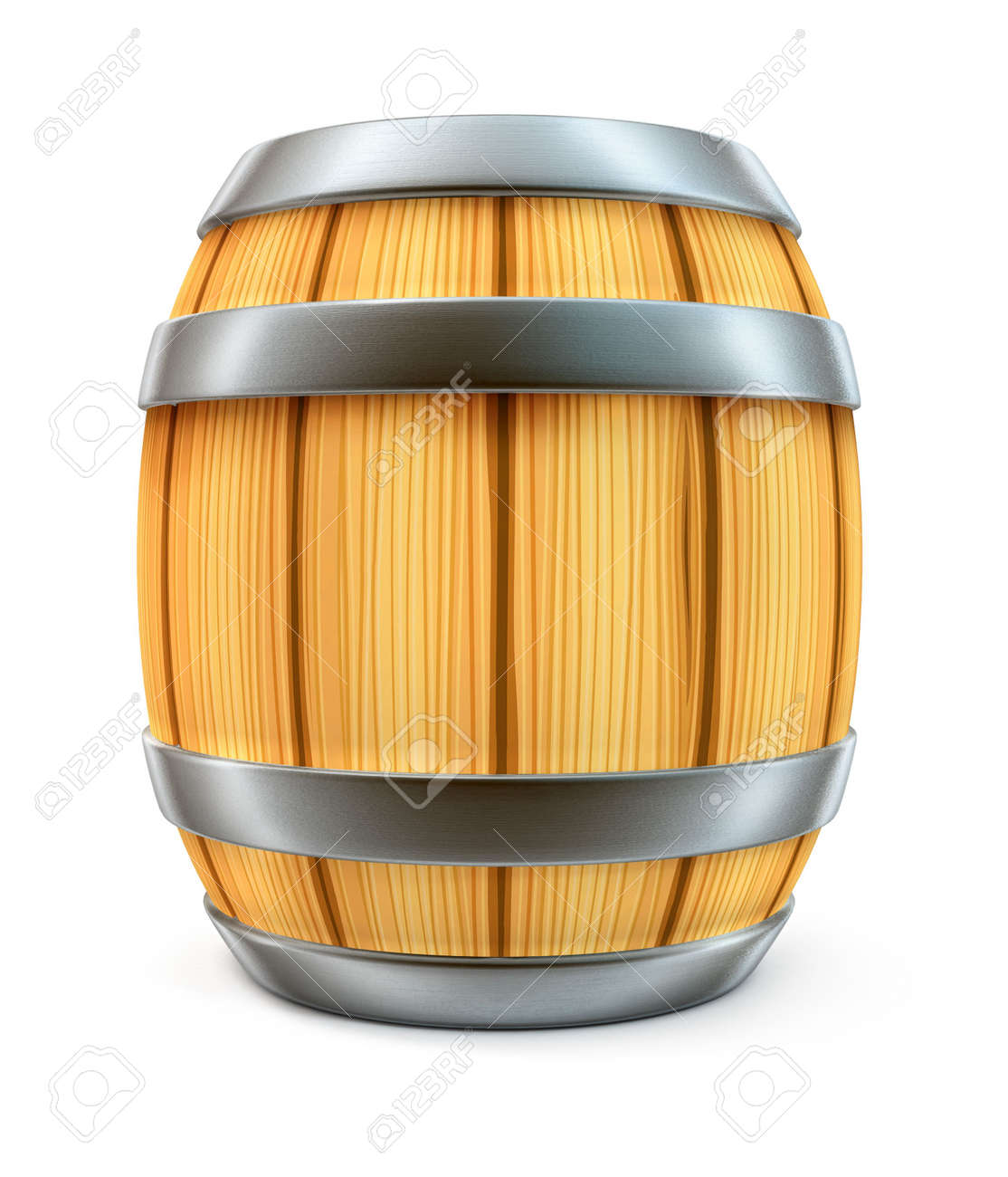 wooden barrel for wine and beer storage isolated on white background Stock Photo - 3642560