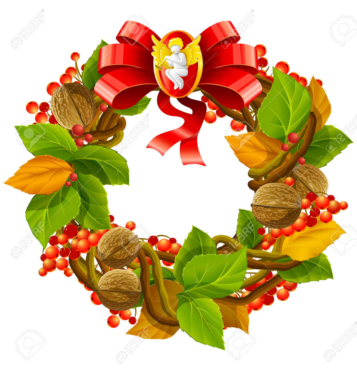 vector illustration of wreath christmas decoration isolated on white background Stock Vector - 3897197