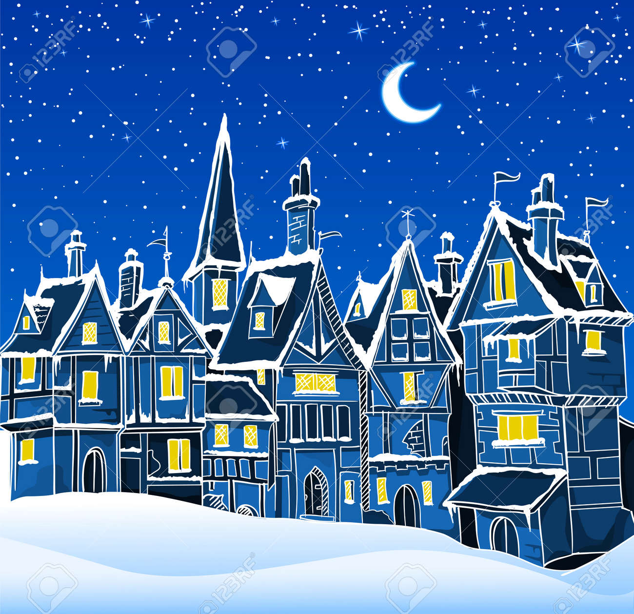 vector illustration of night winter town in snow. Can be used as a background for cristmas greeting card Stock Vector - 4010615