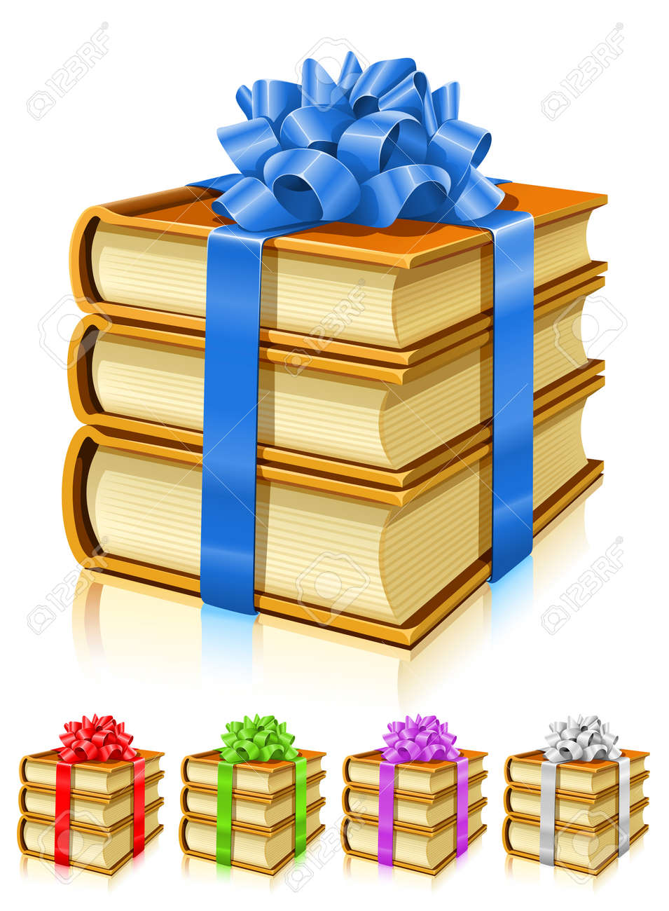 gifts of books with color ribbons and bows - vector illustration Stock Vector - 4287697