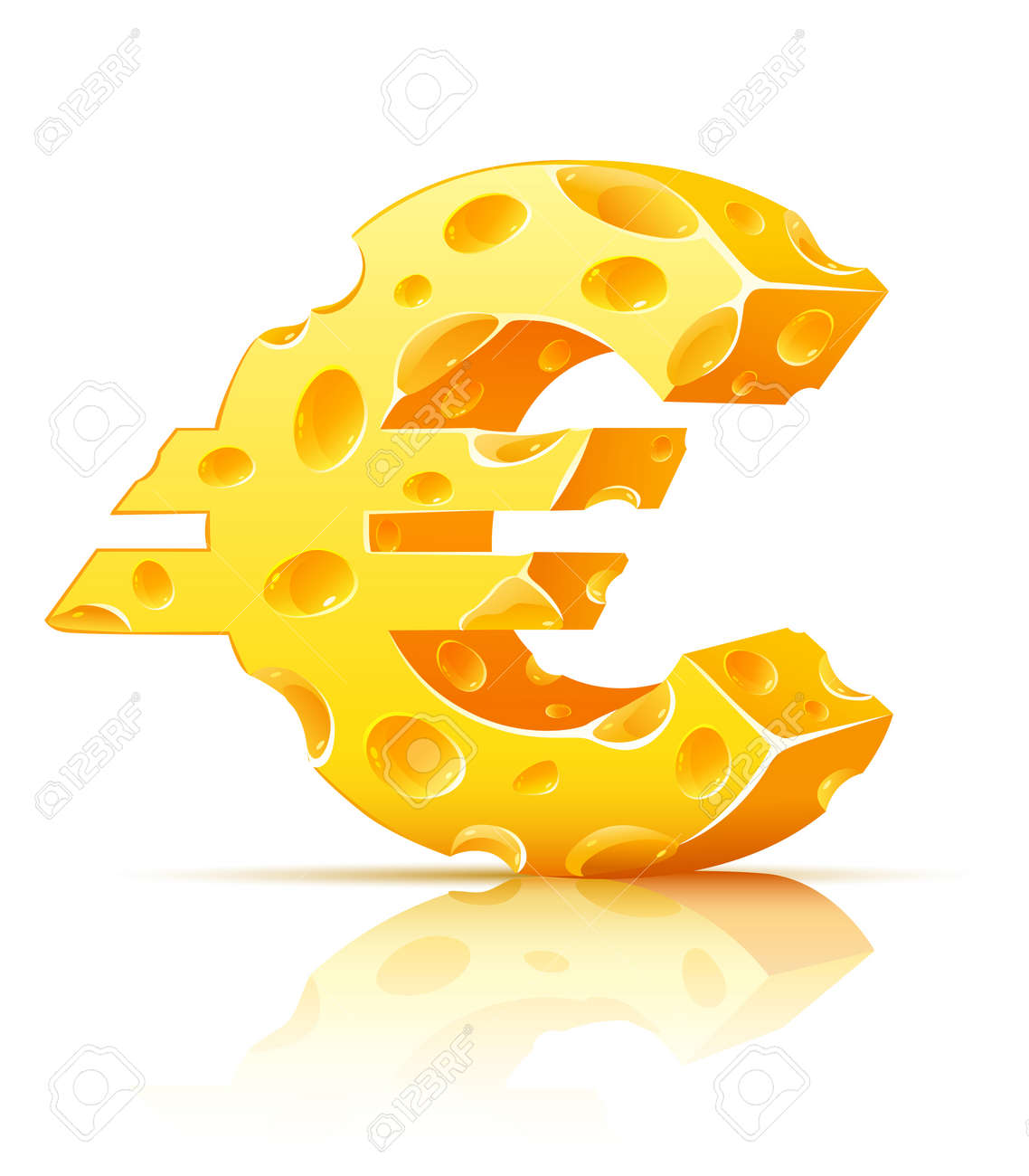 euro currency sign made of yellow porous cheese with holes - vector illustration Stock Vector - 5471491