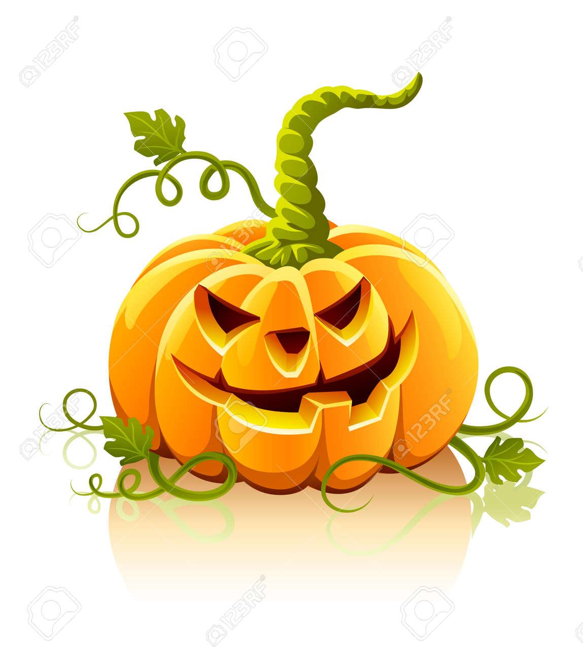 frightful halloween pumpkin vegetable isolated - vector illustration Stock Vector - 5661254