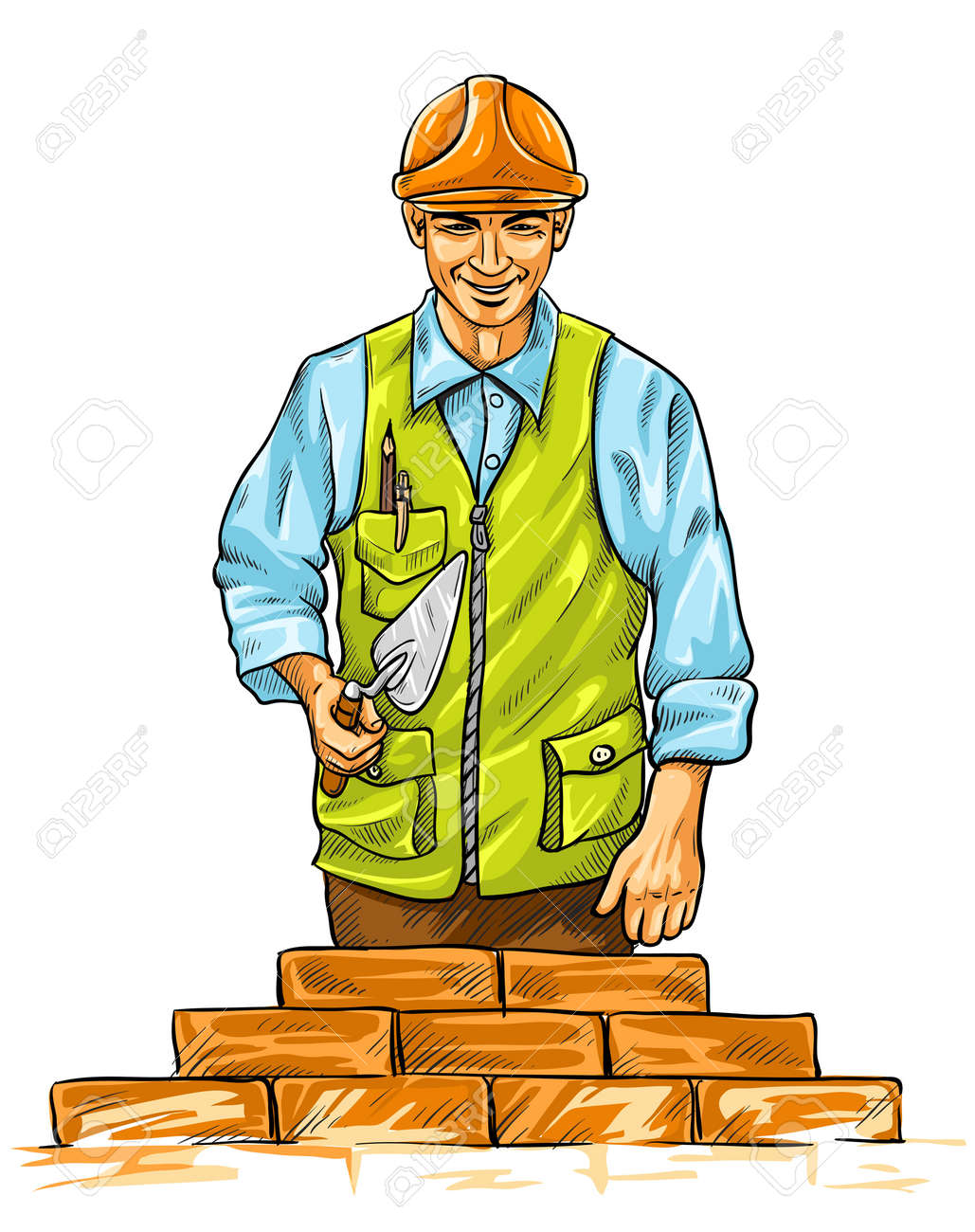 builder man with derby tool building a wall - vector illustration Stock Vector - 5747016