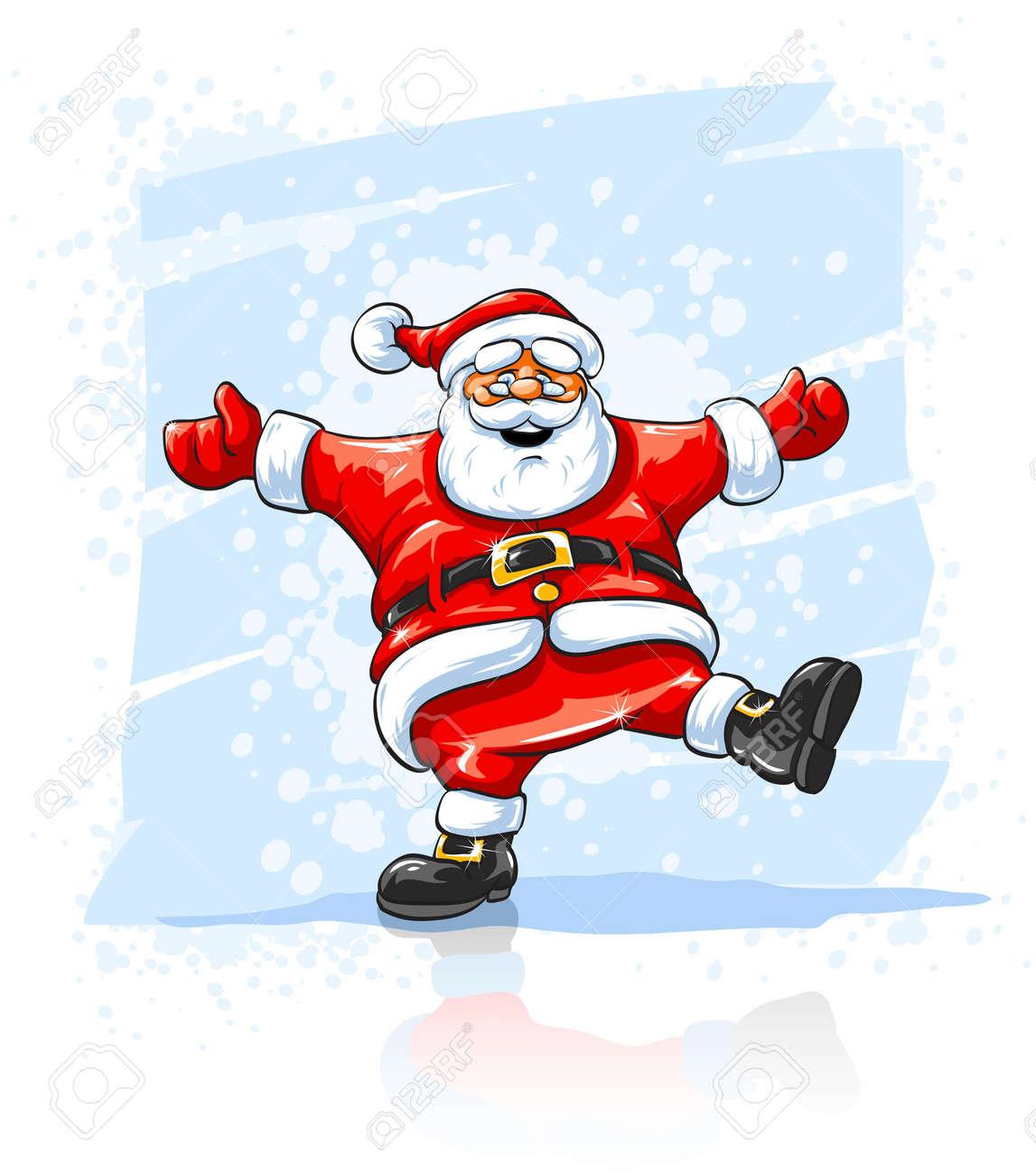 Merry Christmas Santa Claus Dancing Royalty Free Cliparts, Vectors ...