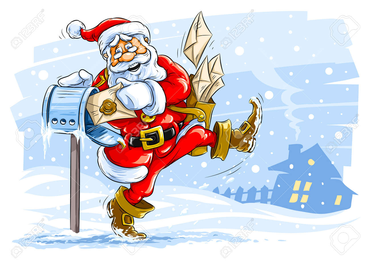 happy Santa Claus postman with Christmas letters Stock Vector - 5939447