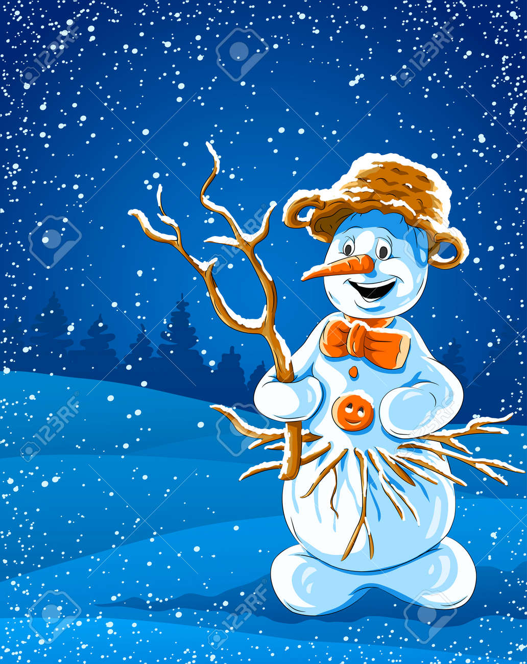 smiling snowman in winter night - vector illustration Stock Vector - 6041498