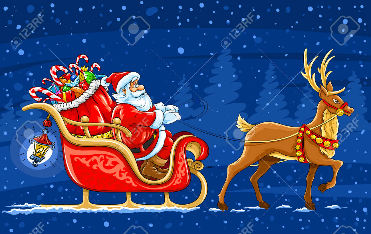Christmas Santa Claus Moving On The Sledge With Reindeer And ...