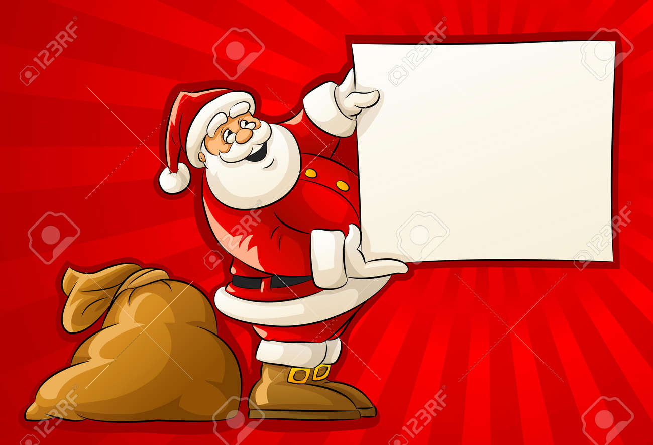 Santa Claus with sack and blank Christmas greeting paper - vector illustration Stock Vector - 6062282