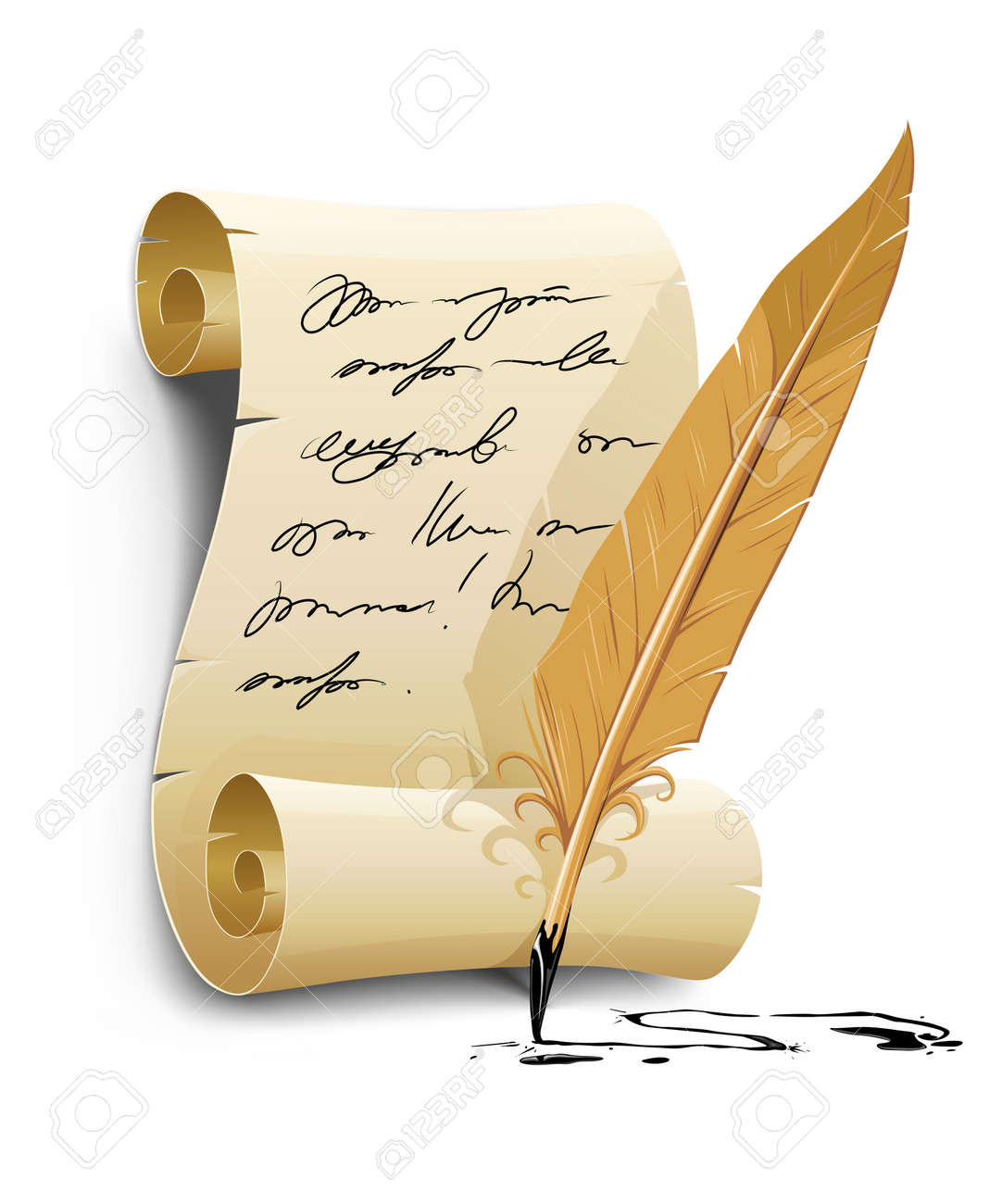 old writing script with ink feather tool - vector illustration Stock Vector - 6062290