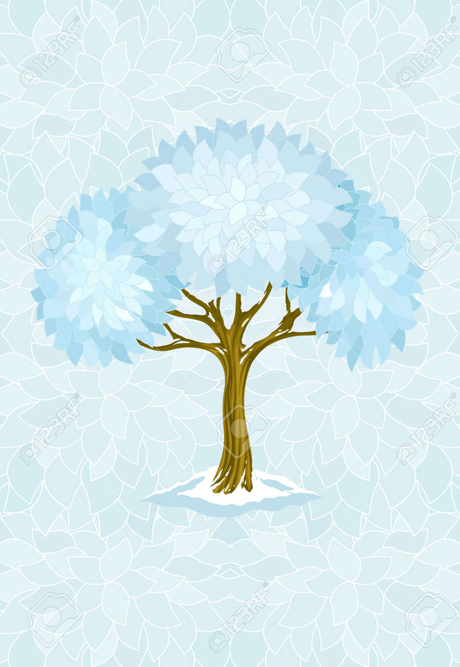 winter tree on blue background with ornament illustration Stock Illustration - 6589962