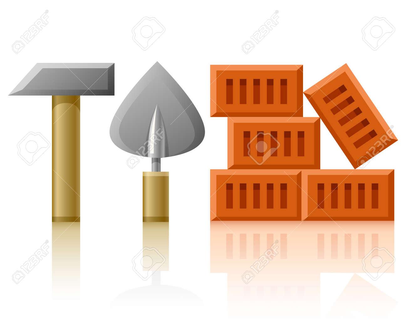 building tools hammer trowel and bricks Stock Photo - 6931833