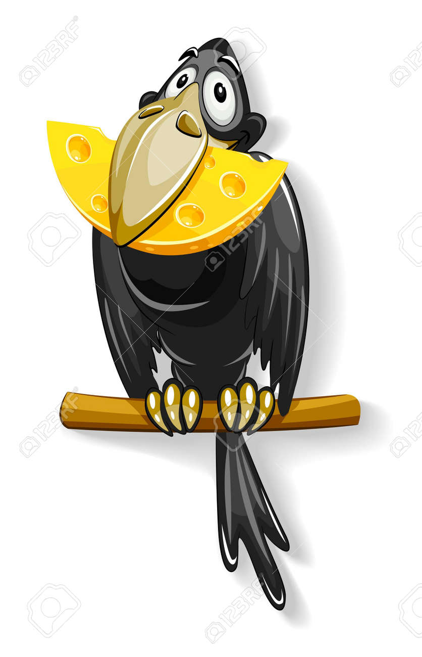 Corbeau Noir Avec Un Morceau De Fromage En Illustration De Bec