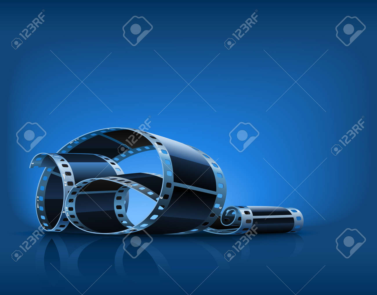 twisted film for photo or video recording on blue background illustration - 7845172