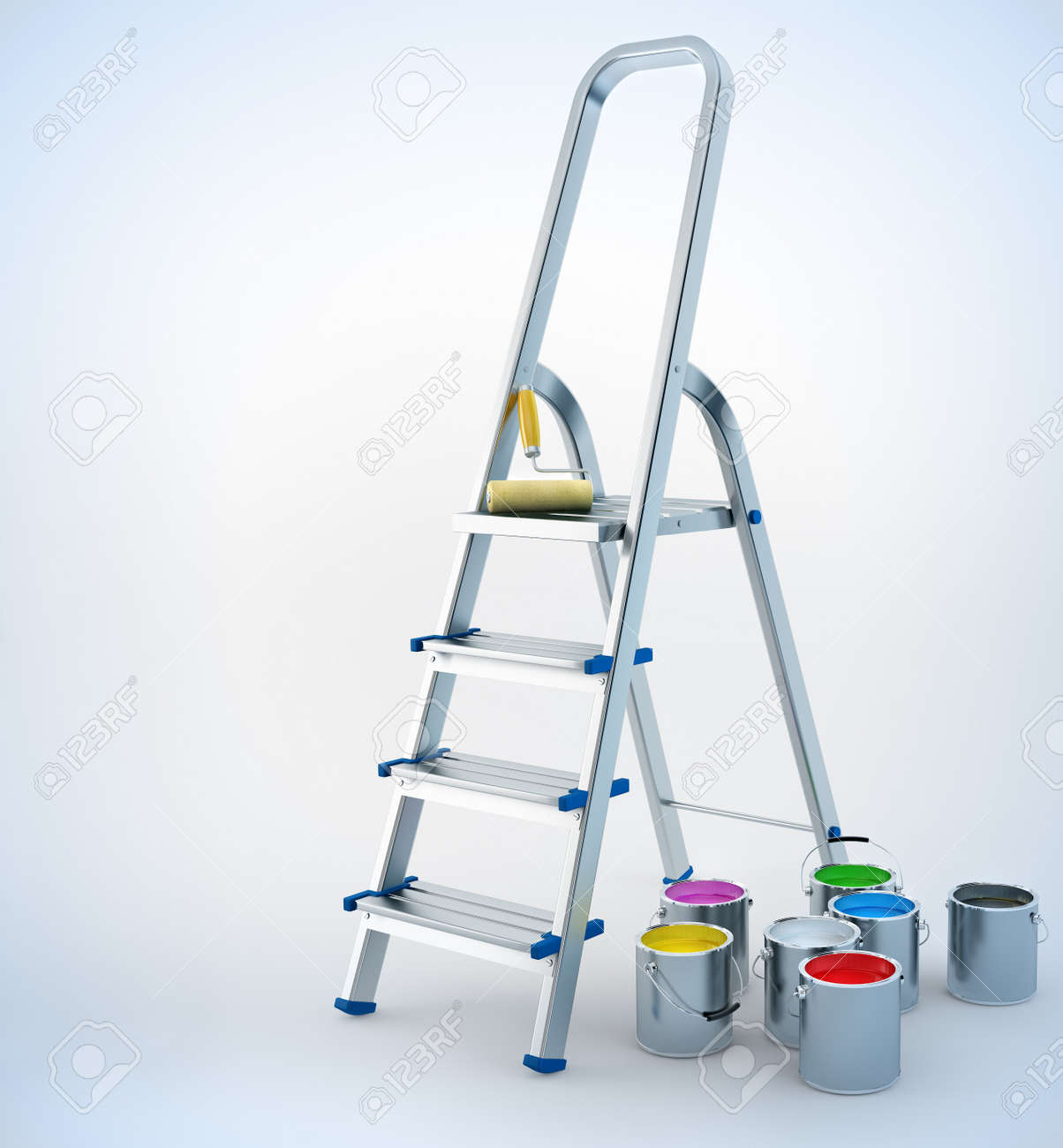 metal stairs stepladder and paint for maintenance 3d-illustration Stock Illustration - 8159719