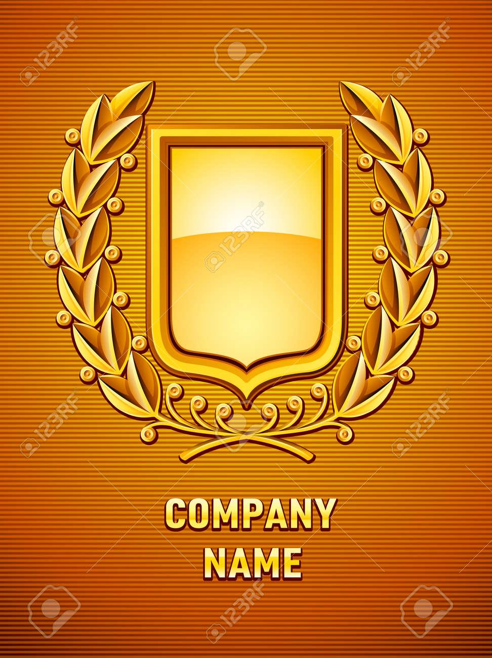 heraldic emblem with gold laurel wreath. vector illustration Stock Vector - 8621475