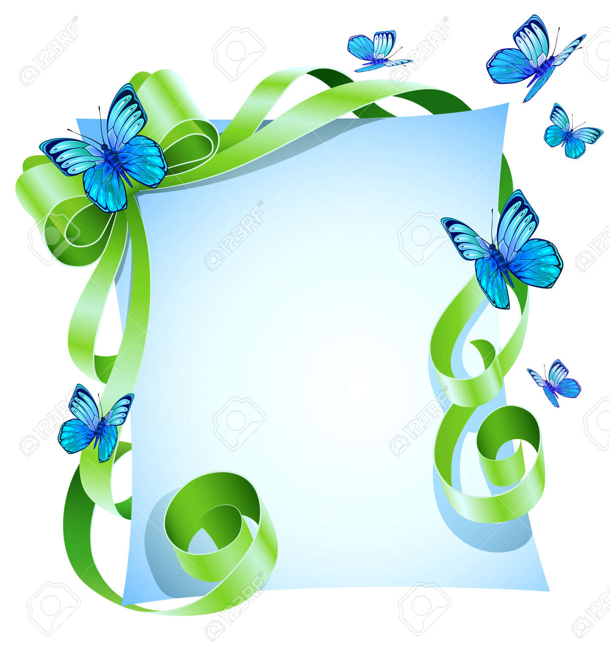 greeting card with green bow and blue butterfly Stock Vector - 8854814