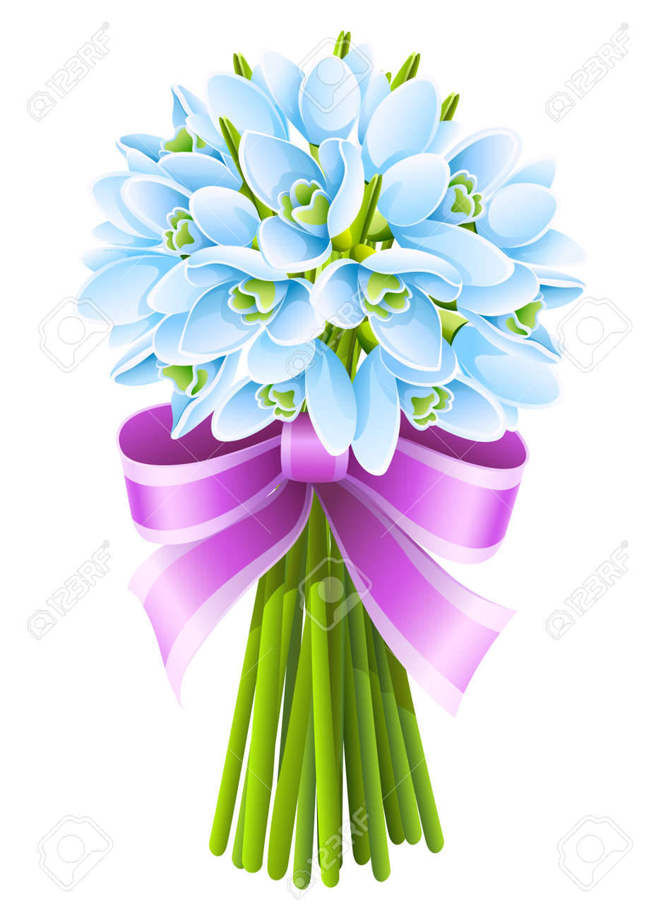 spring snowdrop flowers bouquet with pink ribbon Stock Vector - 9038939