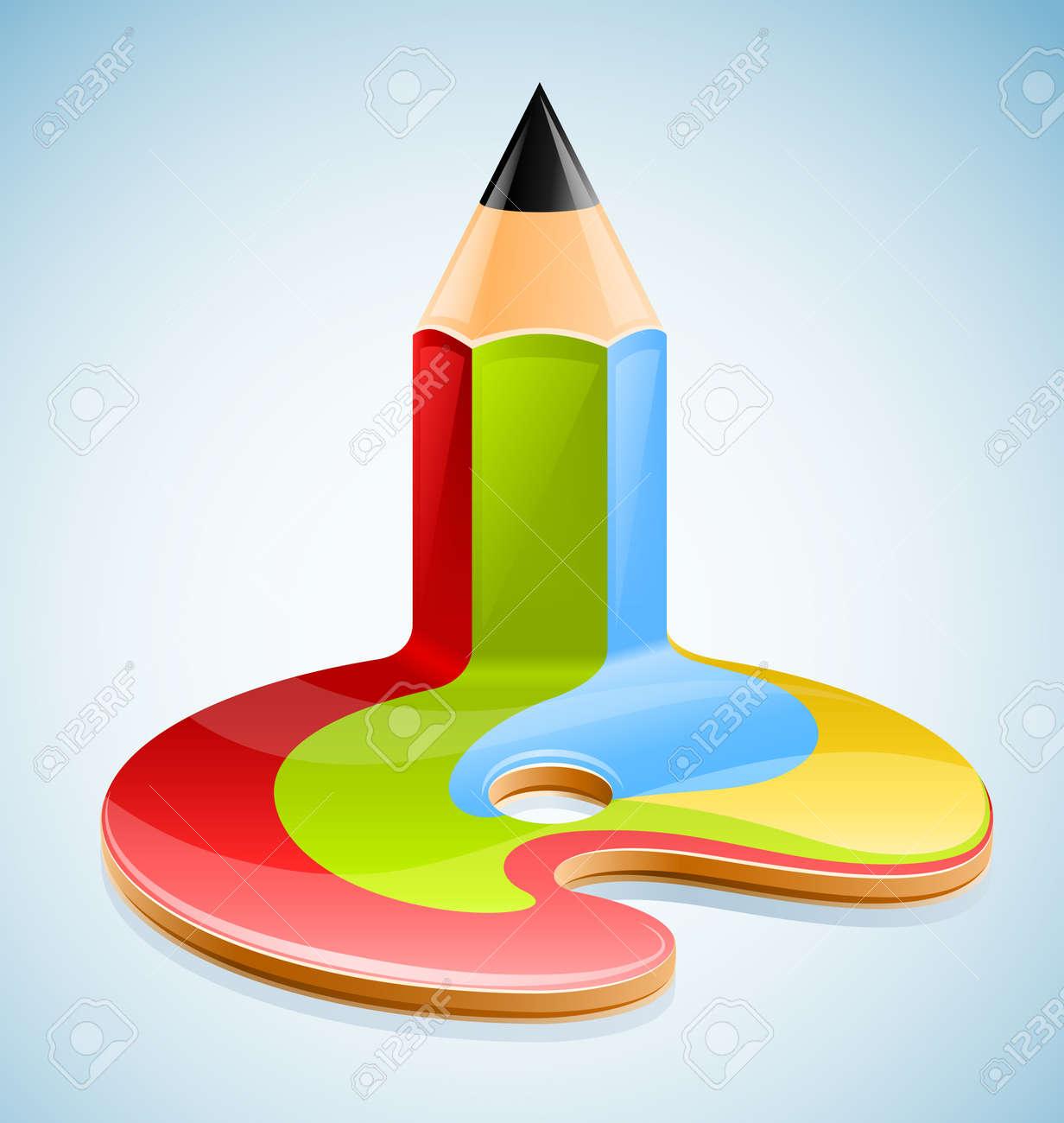 pencil as symbol of visual art illustration Stock Vector - 9830115
