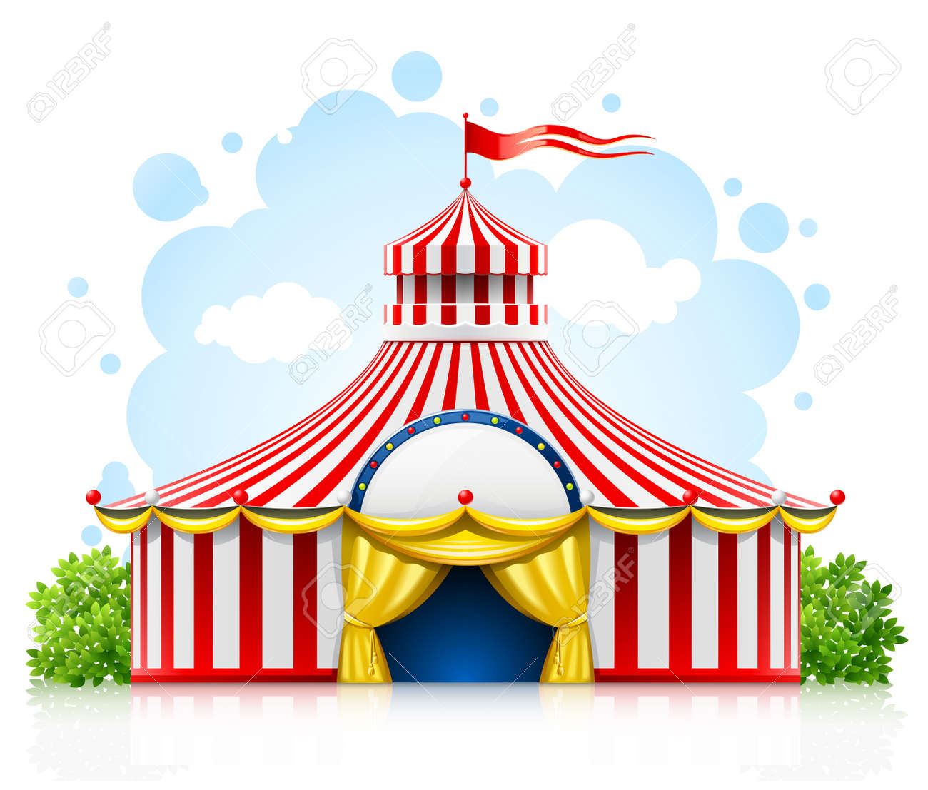 striped strolling circus marquee tent with flag illustration isolated on white background Stock Vector - 9830121