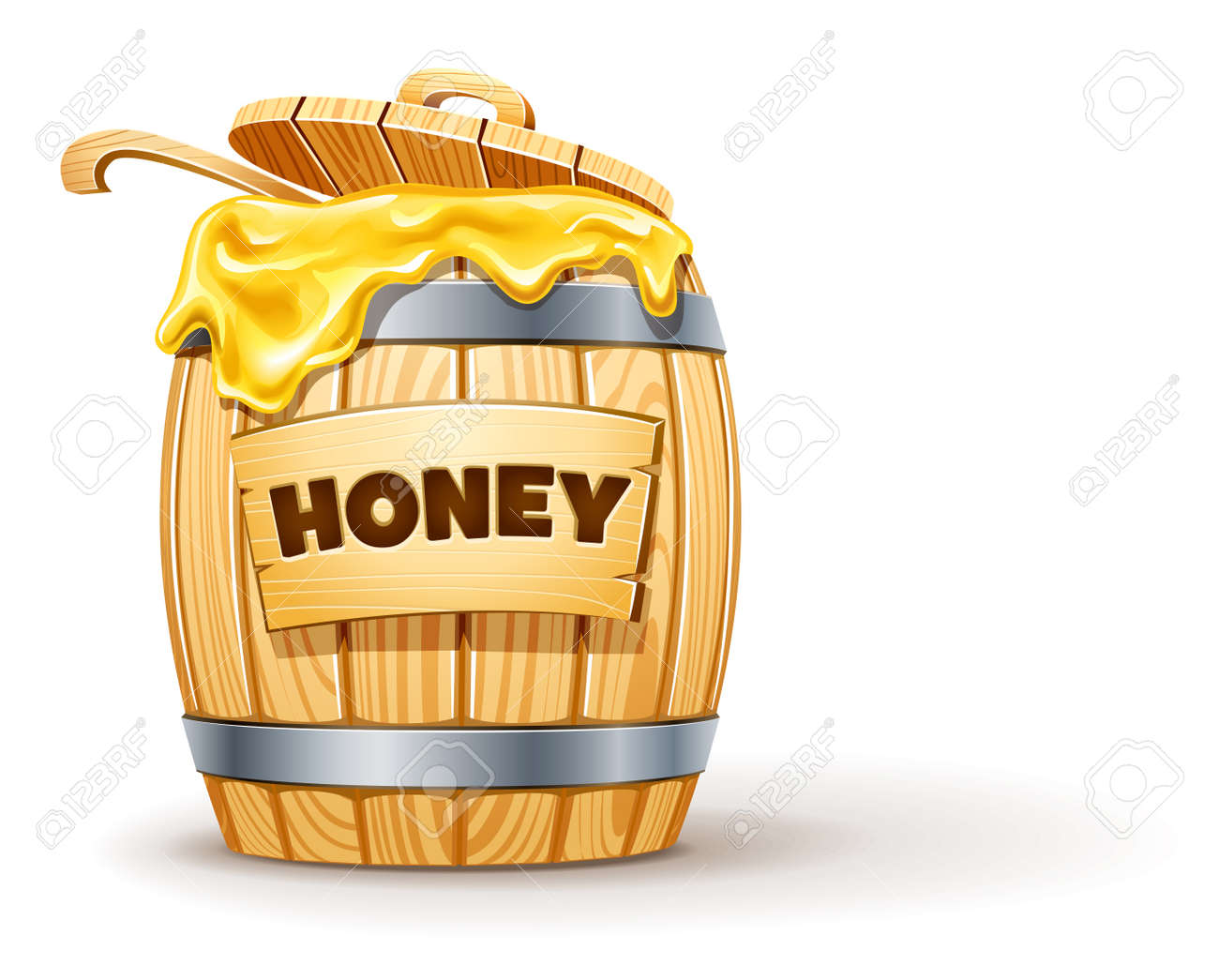 wooden barrel full of honey illustration isolated on white background Stock Vector - 9830124