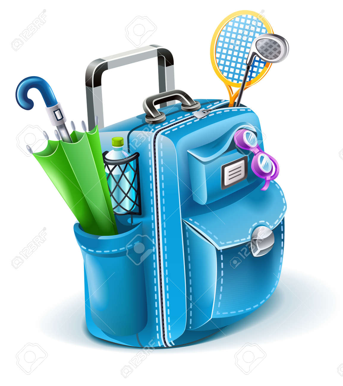 travel bag with objects for entertainment illustration isolated on white background Stock Vector - 9830126