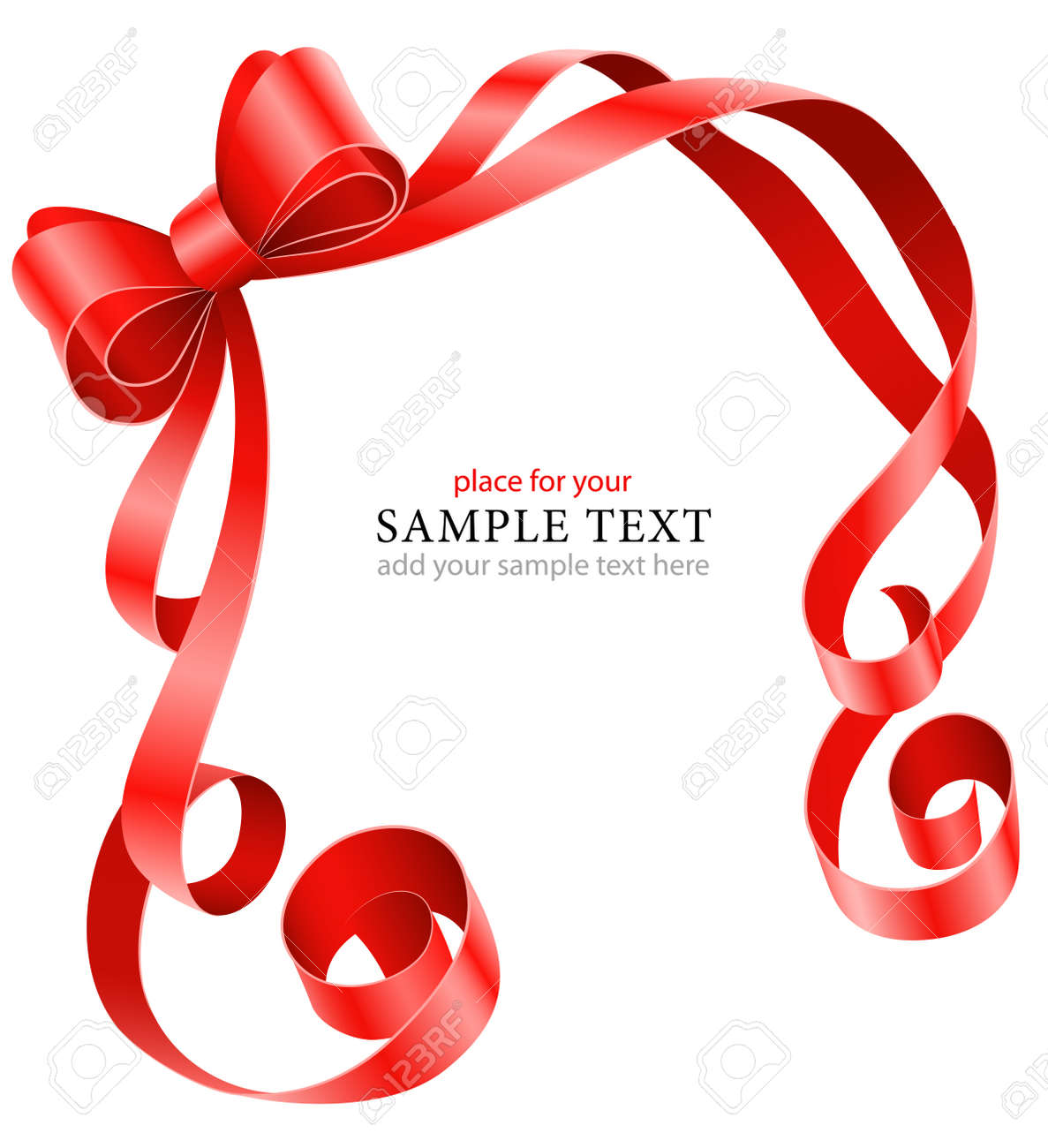 greeting card template with red ribbon and bow illustration isolated on white background Stock Vector - 9830127