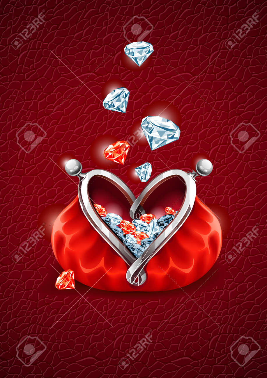 Love concept. Diamond gems falling into the red wallet with lock in form of heart. Vector illustration, EPS8 Stock Vector - 10104549