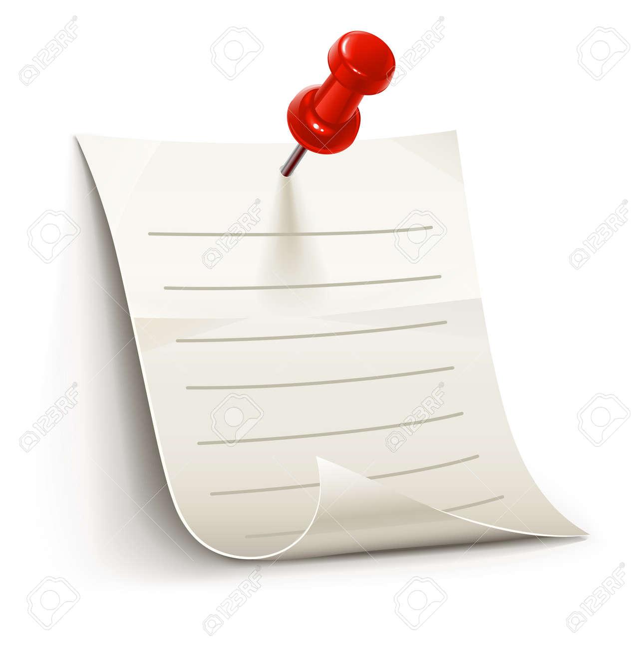 Hoja de papel para billetes vencido por pin, ilustración aislada sobre fondo blanco
