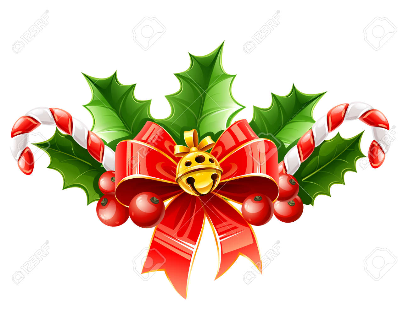 christmas decoration of red bow with gold bell and holly leaves illustration isolated on white background Stock Vector - 11405895