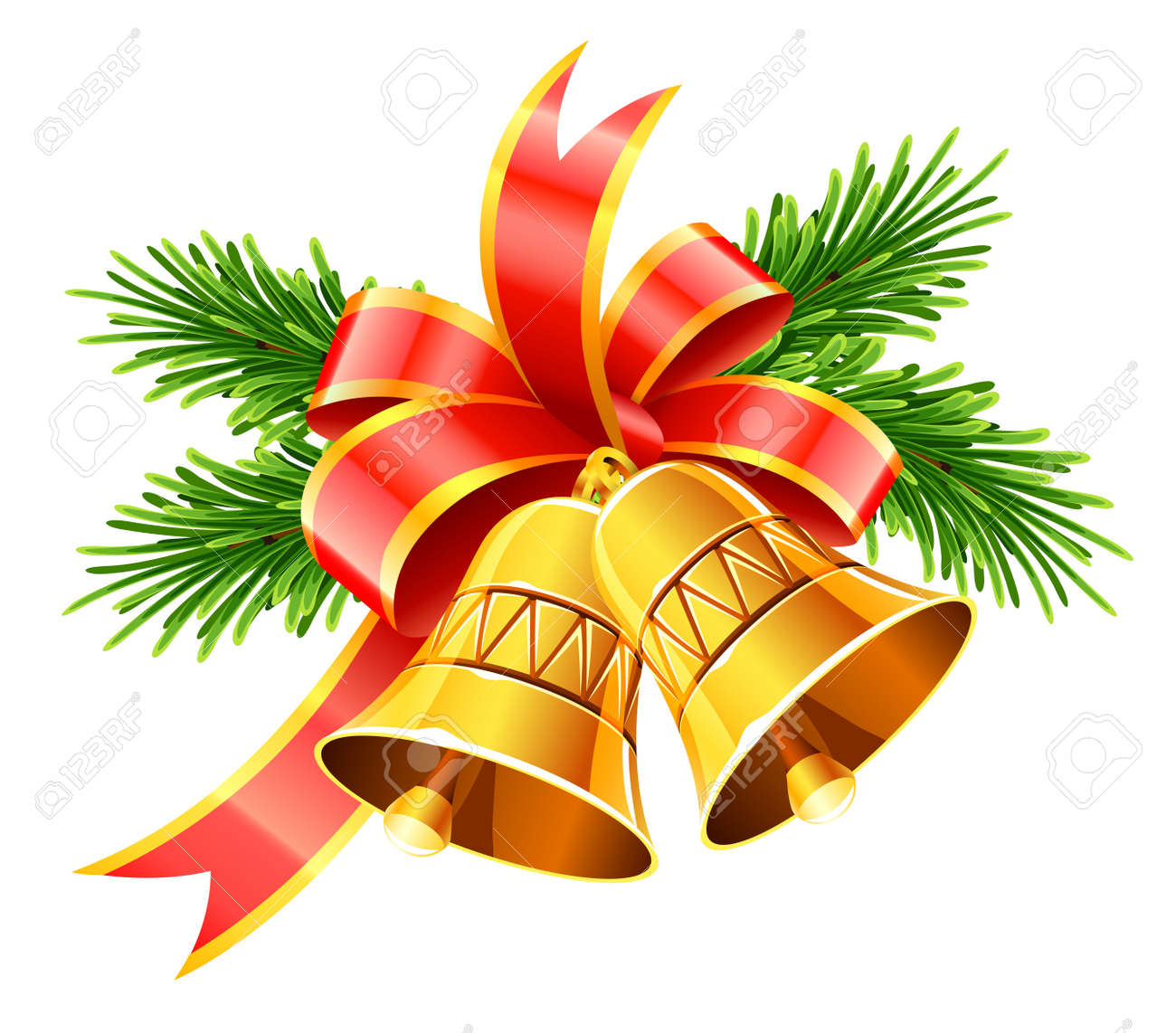 gold christmas bells with red bow and fir vector illustration isolated on white background - 11674170
