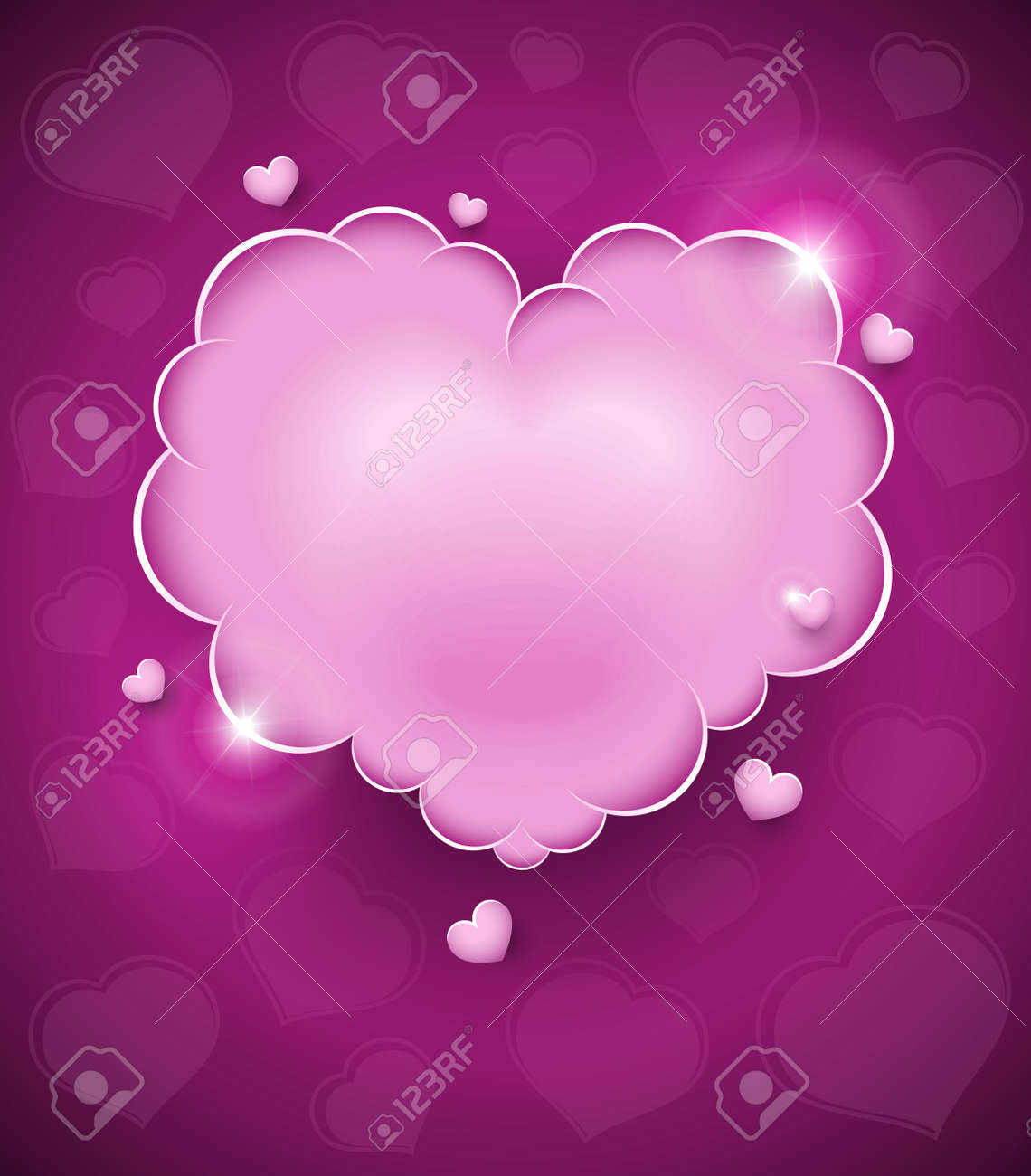 pink glamour heart cloud vector illustration for Valentines day. EPS10. Transparent objects used for shadows and lights drawing Stock Vector - 11674172