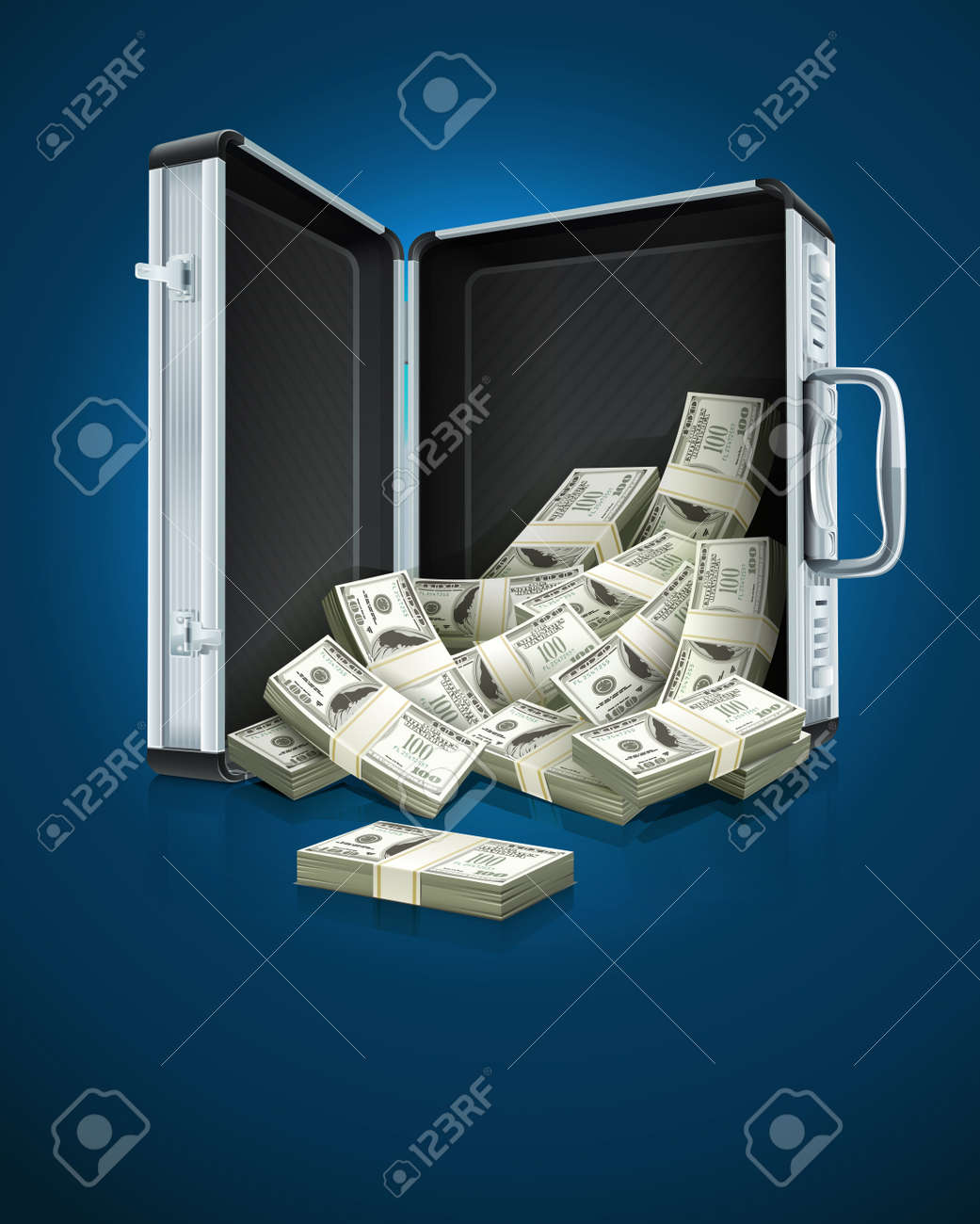 case with dollars money concept vector illustration EPS10. Transparent objects used for shadows and lights drawing Stock Vector - 11901265