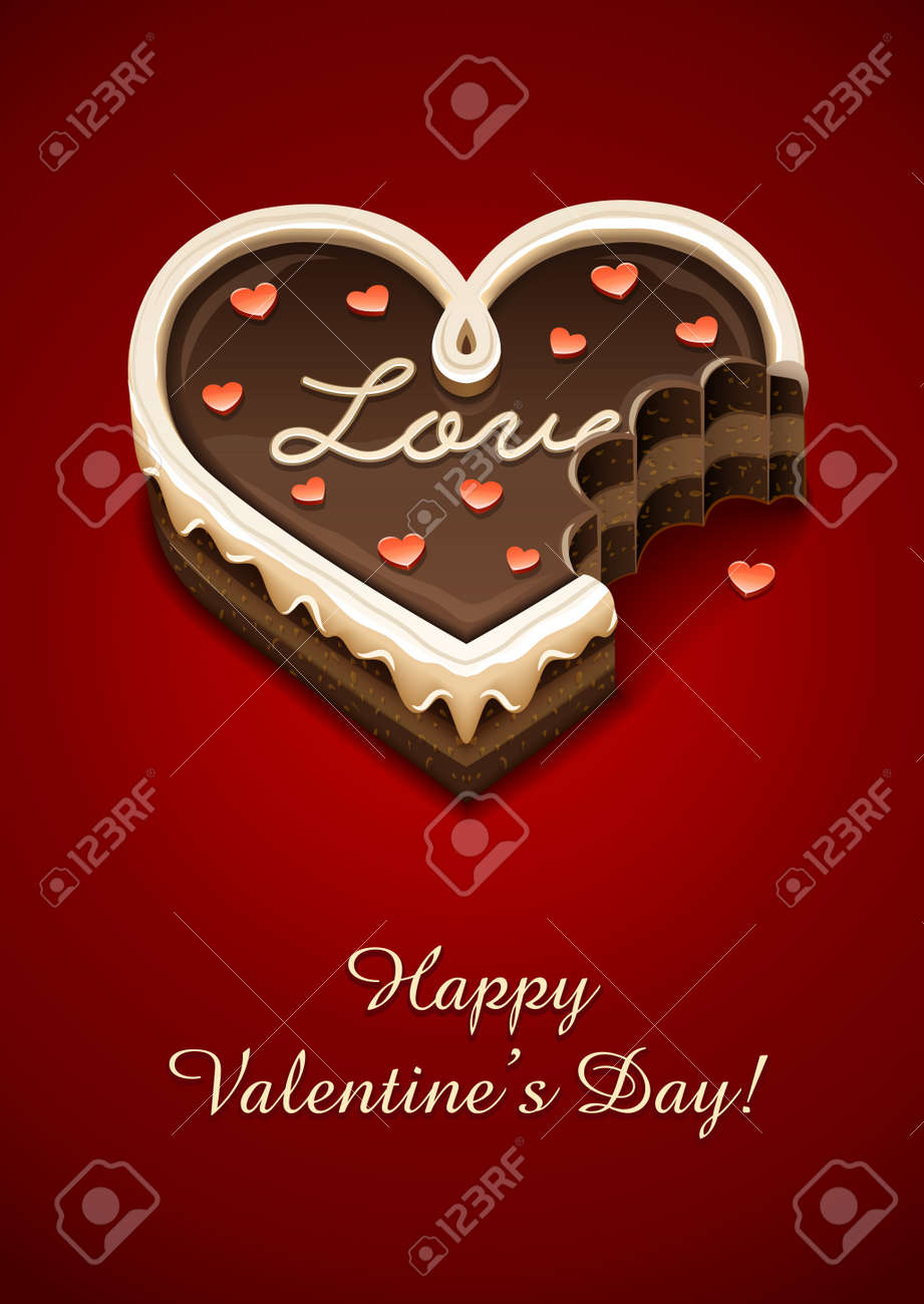 nibbled sweet chocolate cake as heart with love vector illustration EPS10. Transparent objects used for shadows and lights drawing Stock Vector - 12000657