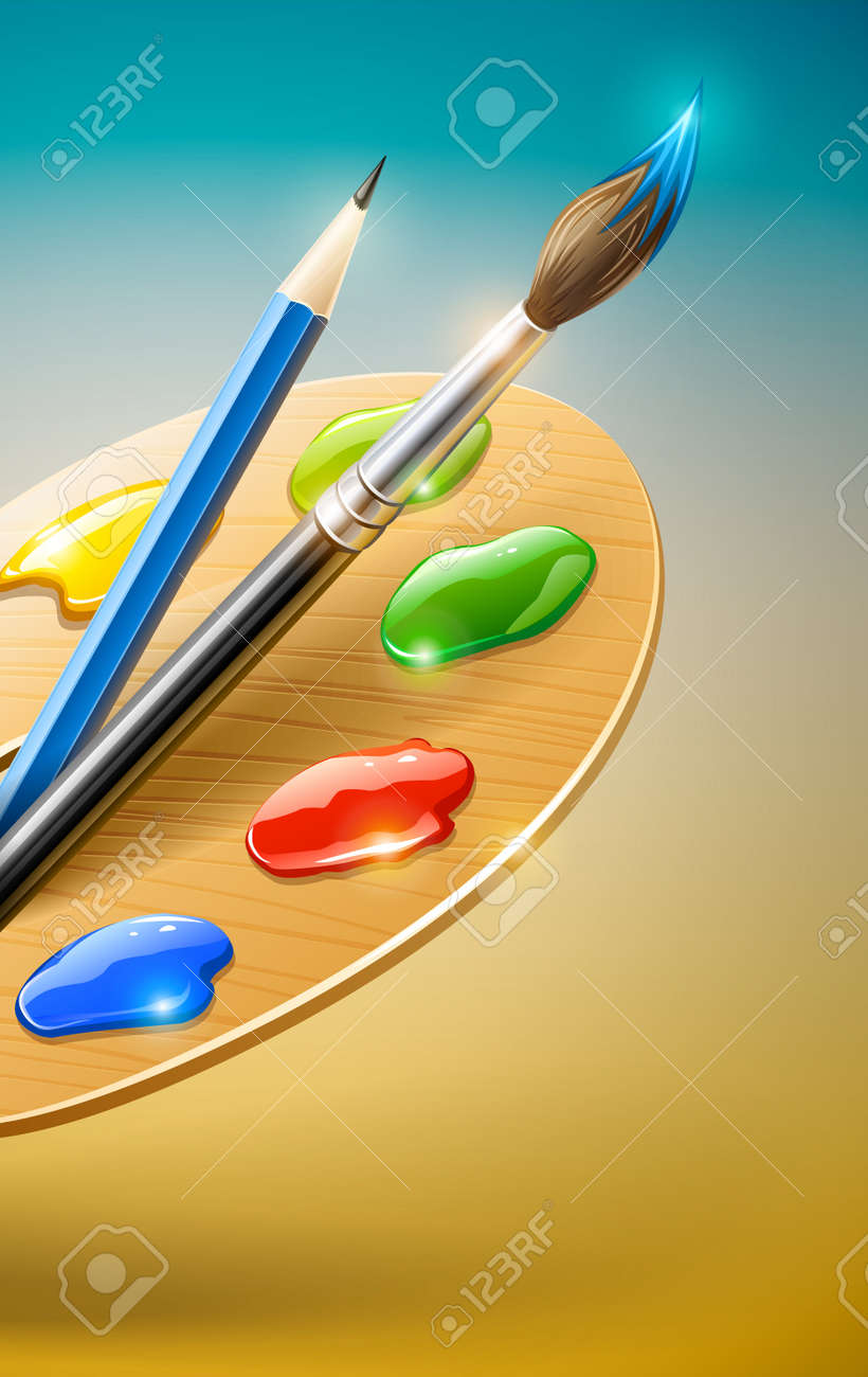Art palette with paint brush and pencil tools for drawing Stock Vector - 12100995